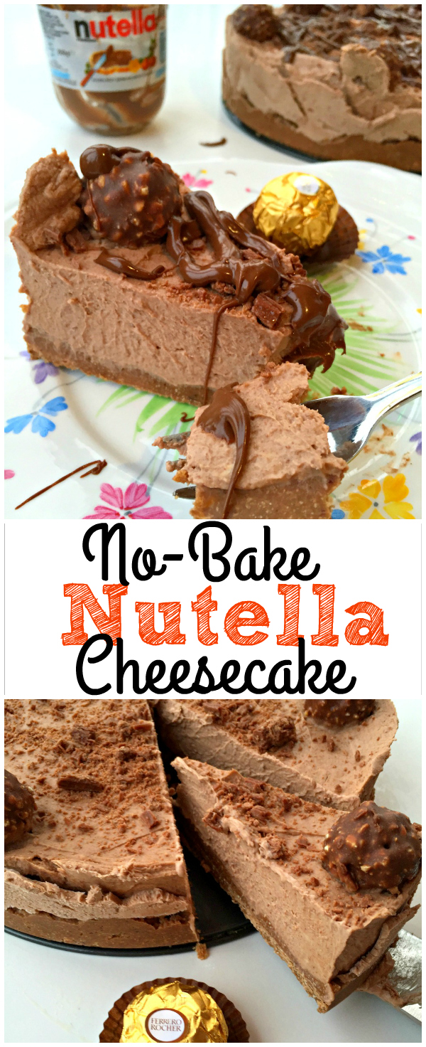The easiest, most delicious No-Bake Nutella Chocolate Cheesecake - NO mixer or food processor needed!