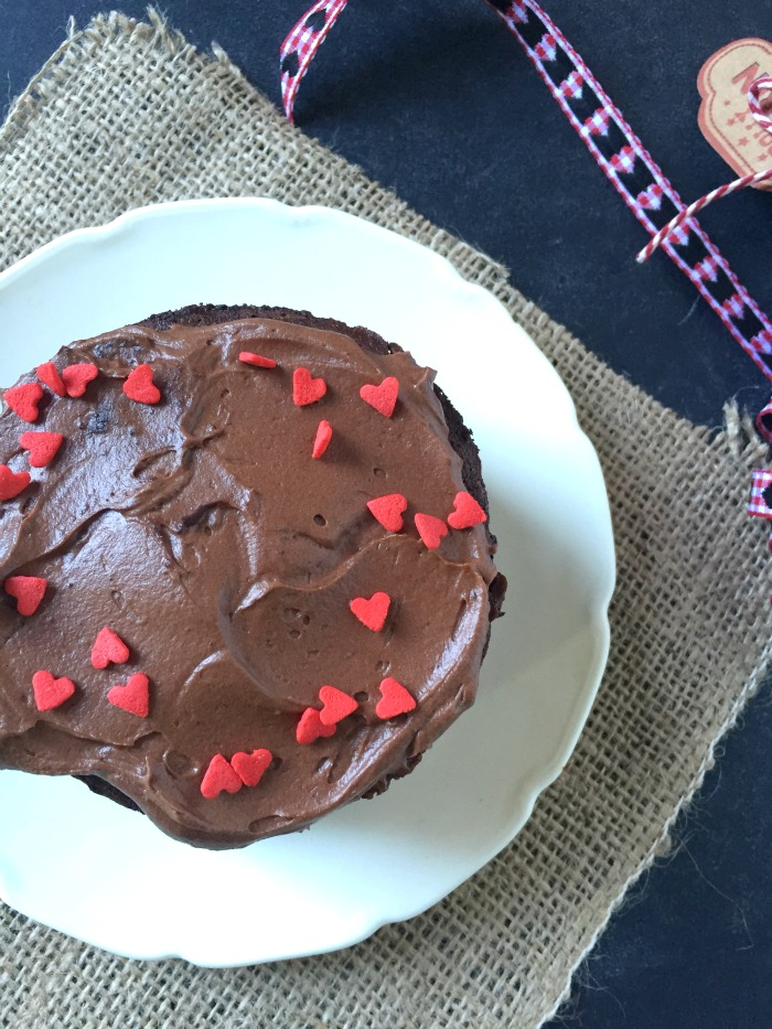 Just enough cake and frosting for you, and maybe one other person! Perfect for Valentine's or a romantic dinner! Easy Mini Chocolate Cake by Kerry Cooks
