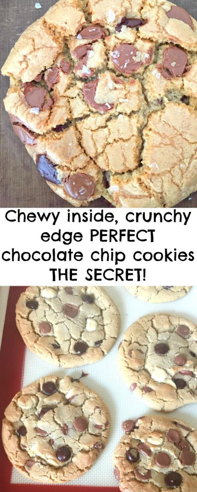 A super Easy Coconut Oil Chocolate Chip Cookie Recipe with NO chilling - that gives you crackly topped, chewy in the middle, crunchy on the outside delicious cookies!