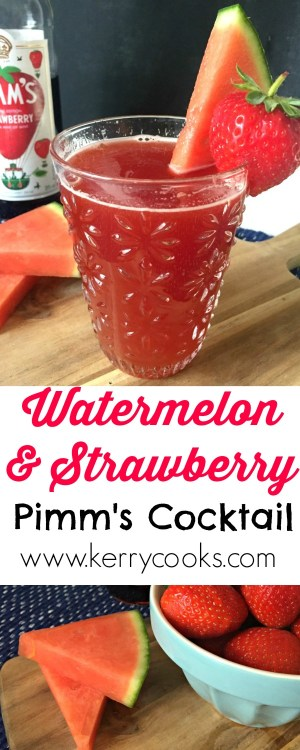 Watermelon and Strawberry Pimms Cocktail - sweet, juicy strawberry and cool refreshing watermelon in this easy cocktail which has just five ingredients!