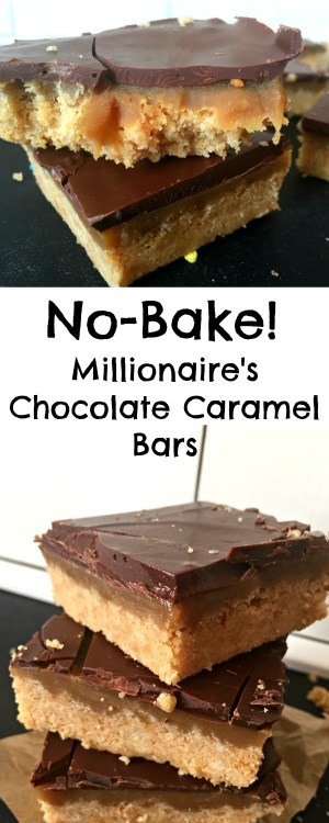 Crumbly rich shortbread, delicious caramel, and chocolate make for a moreish mouthful in this completely No-Bake Millionaire's Shortbread Recipe! 10 minutes to make and just 6 ingredients!