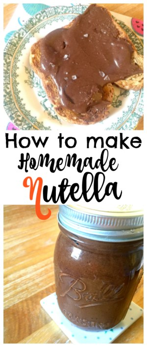 Easy healthier Nutella with only three ingredients - packed full of roasted hazlenut goodness! It's easy to make at home in a powerful mixer or blender! Easy Homemade Nutella recipe - How to make Homemade Nutella