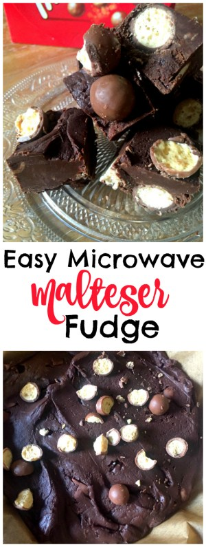 Foolproof cheat's Easy 3 Ingredient Chocolate Malteser Fudge! So chocolatey and delicious and only 3 ingredients and 5 minutes to make it!