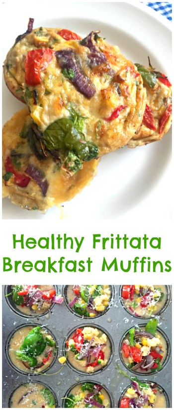 Adorable mini Healthy Frittata Breakfast Muffins filled with the goodness of eggs, vegetables, feta cheese and herbs. Perfect to bake in a big batch, freeze, and take to work for a healthy breakfast!