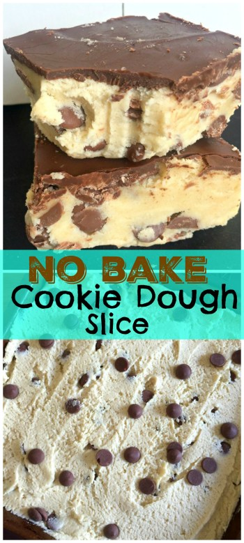 Stupidly easy recipe for a No Bake Cookie Dough Slice with just a handful of ingredients! Soft, vanilla cookie dough topped with milk chocolate - so good!