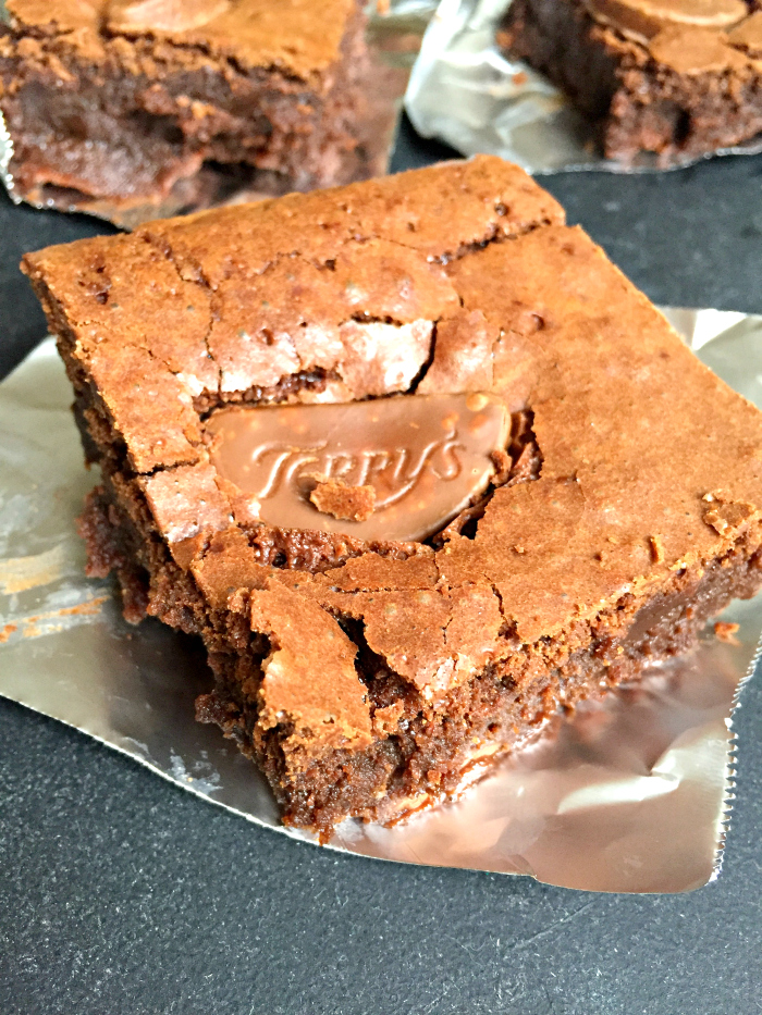 The Best Ever Chocolate Fudge Brownies - made even better with Terry's Chocolate Orange segments! These easy Terry's Chocolate Orange Brownies are soo good - you have to try them!