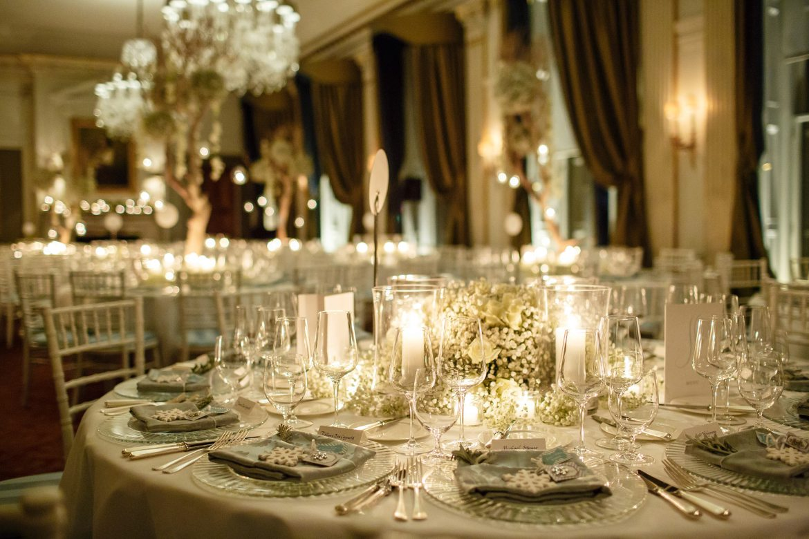 winter wedding Cliveden House tables