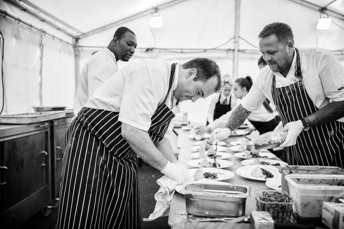 the chefs at a wedding