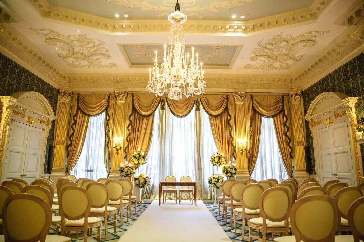 wedding ceremony room at claridges