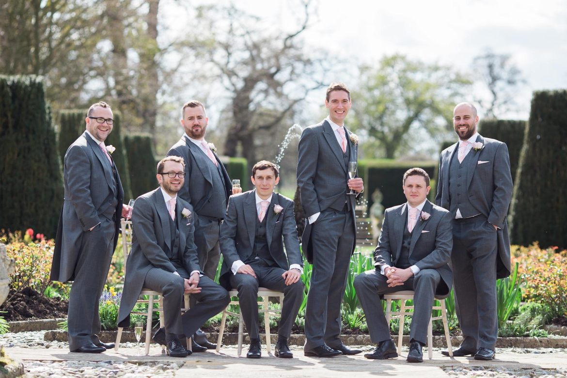 Groom, ushers and best man group photo at Hengrave Hall.