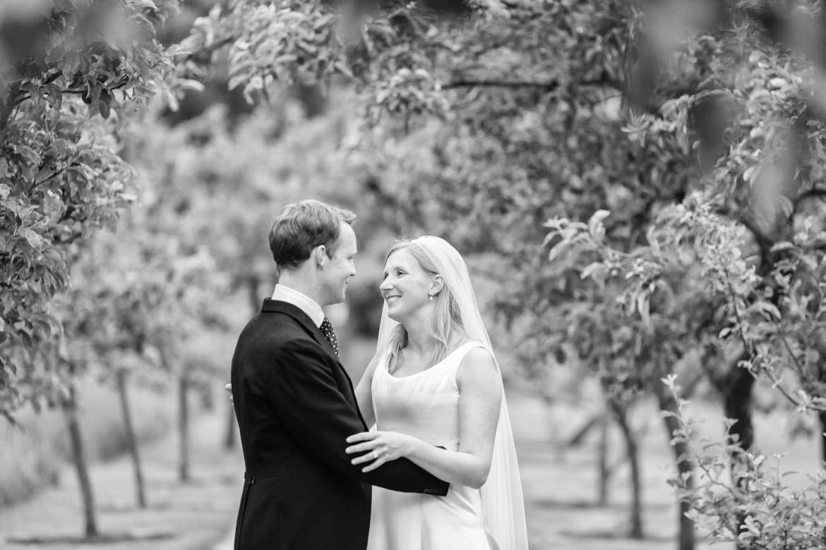 black and white images of the bride and groom at Fulham Palace Wedding
