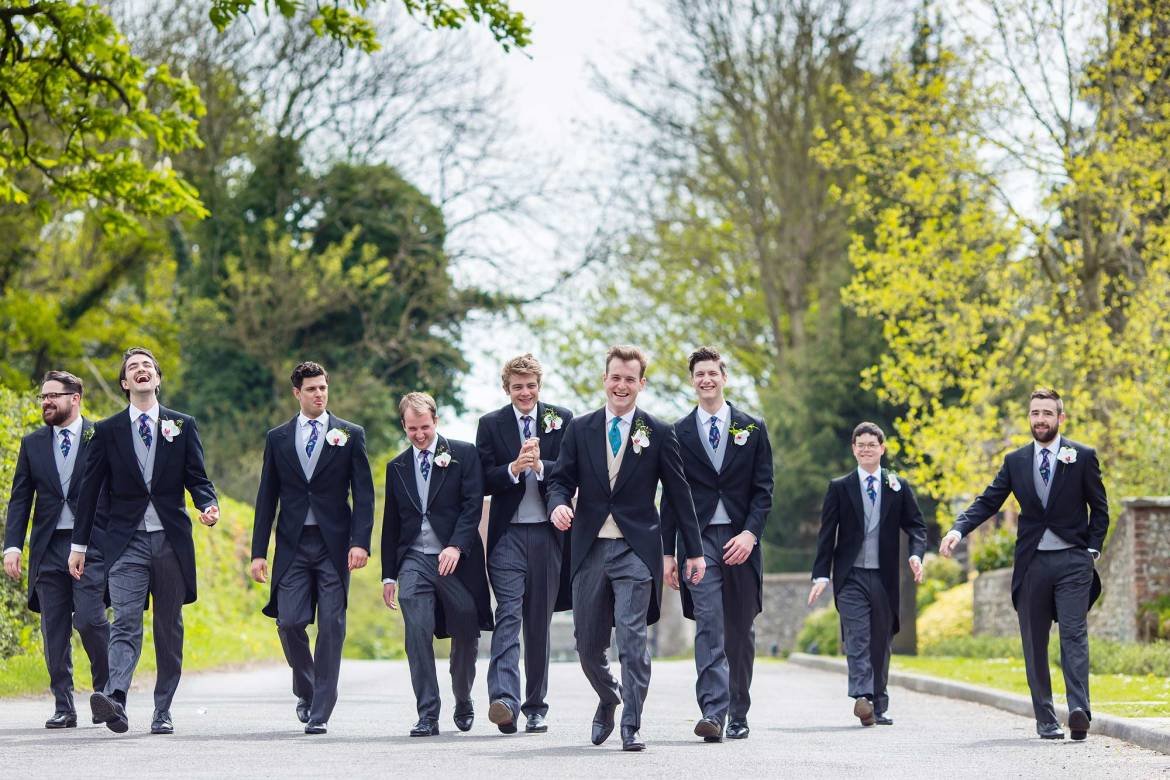 The guys take a walk before the Goodwood House Wedding