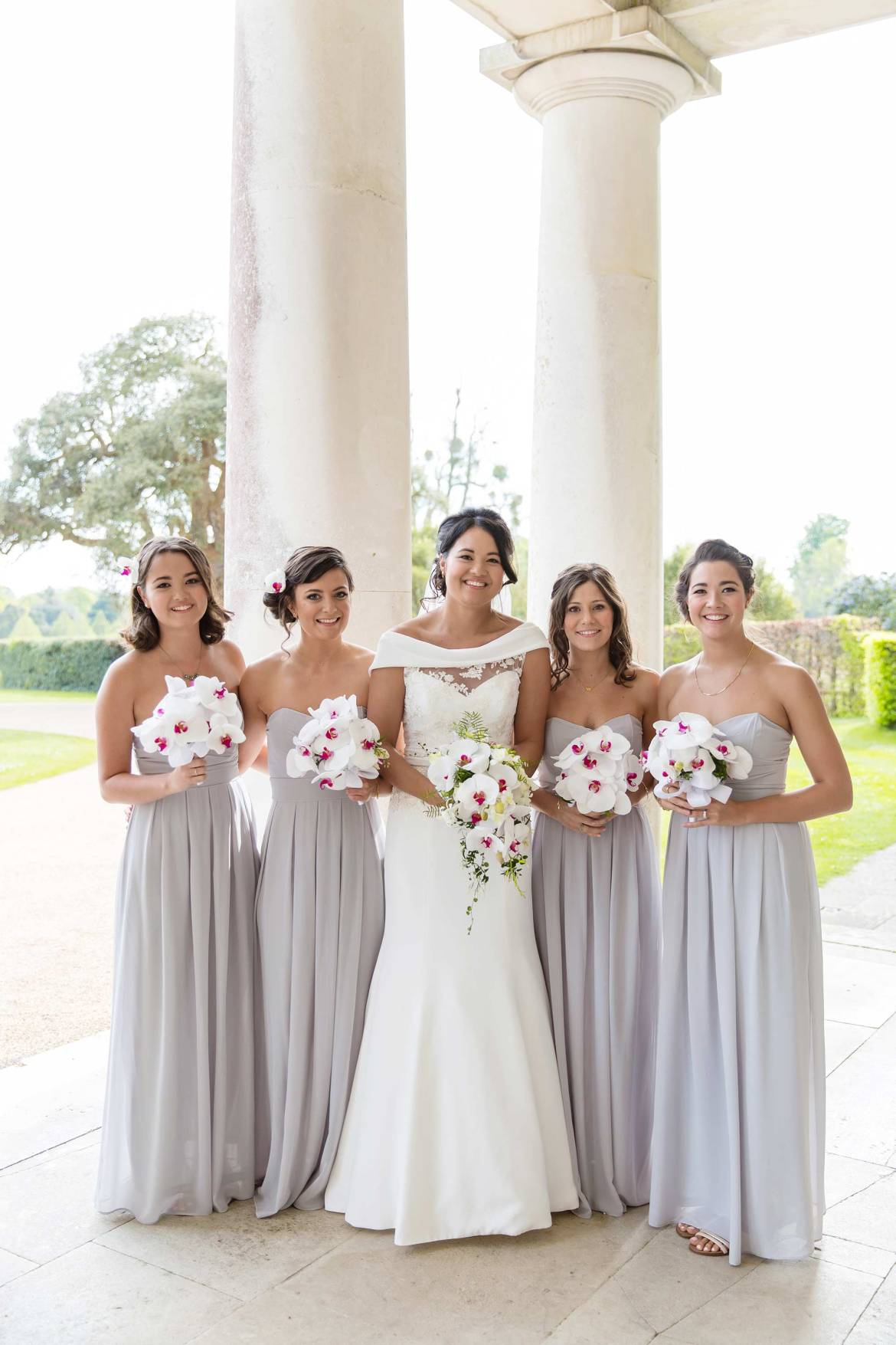 Formal group picture of Rachel and her Bridesmaids at Goodwood House prior to the ceremony