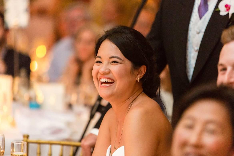 Rachel laughs at the slideshow