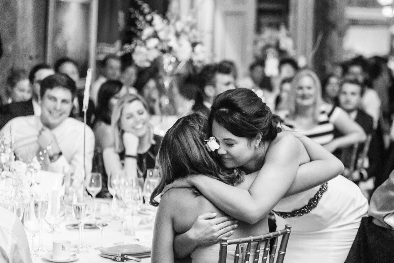 Rachel thanks her sister with a hug