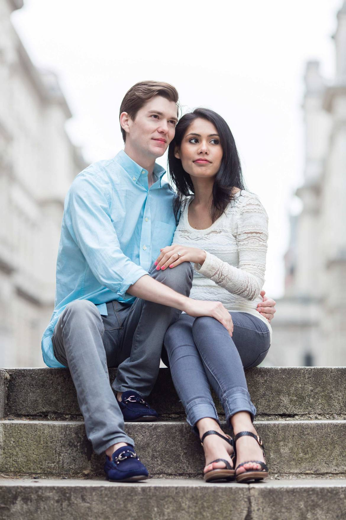 London Engagement Photography on steps near Westminster