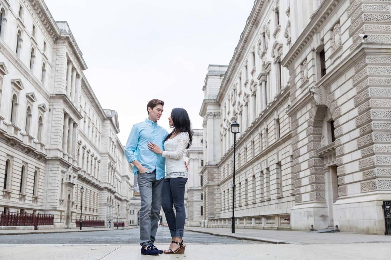 A quiet London street for an engagement shoot