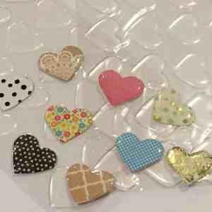 Clear epoxy hearts stickers