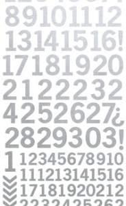 Kaisercraft Number Sticker Sheets Metallic Silver