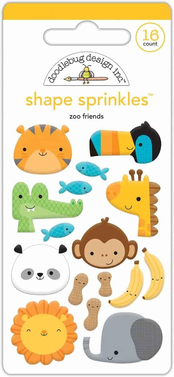 Doodlebug Design Sprinkles Shapes Zoo Friends