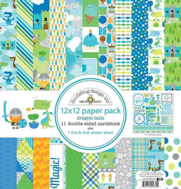 Doodlebug Design 12x12 Paper Pack Dragon Tails