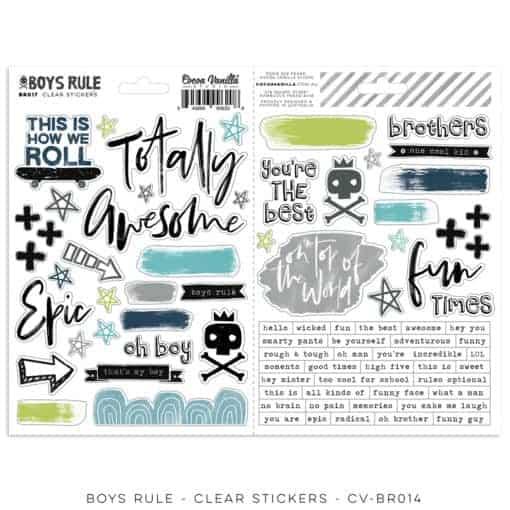 Cocoa Vanilla Studio Boys Rule Clear Stickers