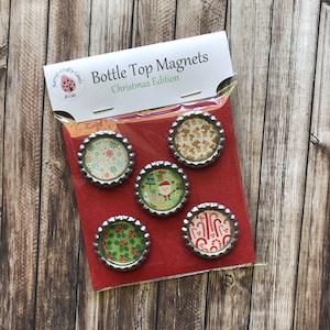 Handmade Bottletop Magnets Merry