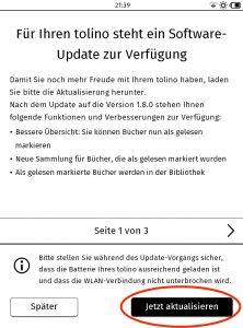 Screenshot 6: Updatehinweis