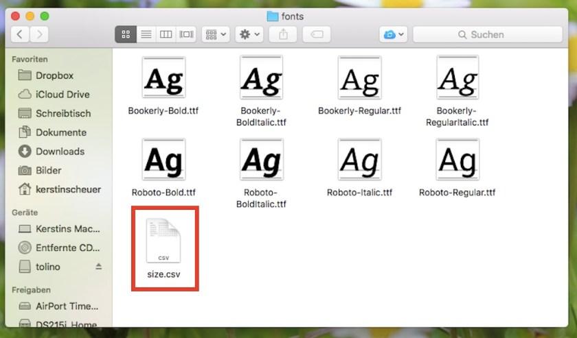 Screenshot Inhalt fonts Ordner