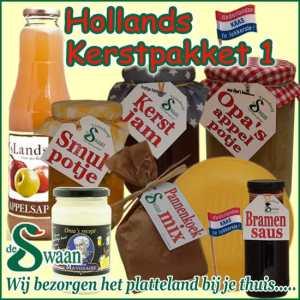 Hollands kerstpakket 1 - streek kerstpakket gevuld met huisgemaakte streekproducten - www.kerstpakkettencadeaubon.nl