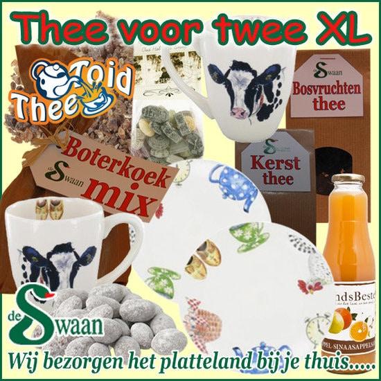 Kerstpakket Thee voor twee xl - streekpakket gevuld met diverse soorten thee en boeren streekproducten - www.kerstpakkettencadeaubon.nl