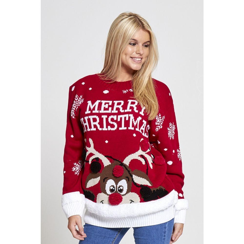 Kersttrui Dames Zwart.Dames Kersttrui Merry Xmas Rood Kersttruienkopen Nl
