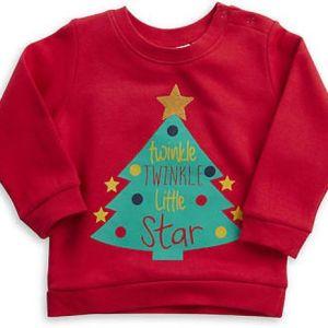 """Rode kinder kersttrui met de print van een kerstboom op de voorzijde met erin de tekst """"twinkle, twinkle, little star""""."""