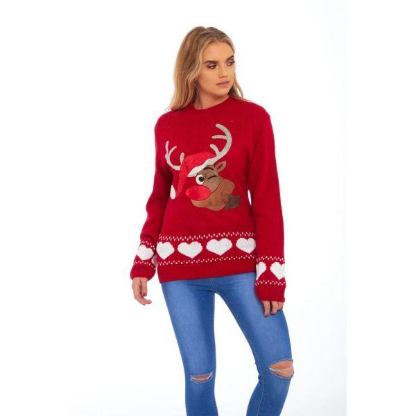 Rode dames kersttrui met tricot manchetten aan de hals mouwen en taille. De kersttrui is versierd met een print van een knipogende Rudolf met kerstmuts aan de voorzijde en witte hartjes rond de taille en mouwen.