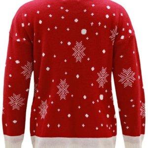 Rode dames kersttrui met tricot manchetten aan de hals, mouwen en taille. De kersttrui is verder versierd met een print van Rudolf aan de voorzijde en verschillende sneeuwpatronen.
