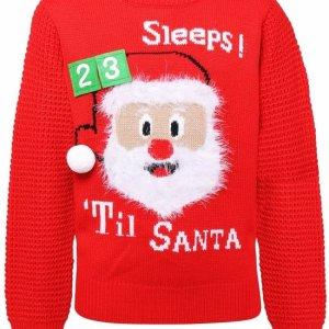 Rode kinder kersttrui met ribbelige stof aan de mouwen en tricot manchetten aan de hals, mouwen en taille. De kersttrui is verder versierd met een 3D kerstman en de tekst