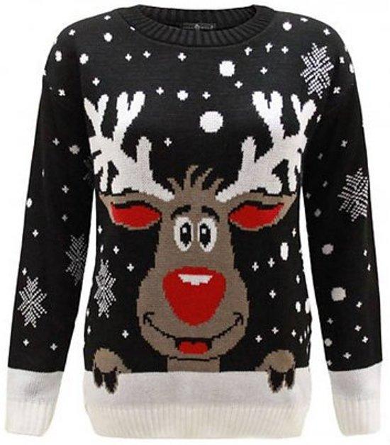 Zwarte dames kersttrui met tricot manchetten aan de hals, mouwen en taille. De kersttrui is verder versierd met een print van Rudolf aan de voorzijde en verschillende sneeuwpatronen.