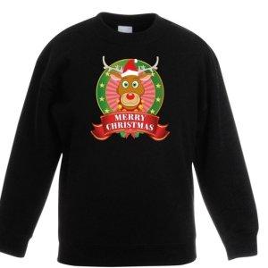 """Zwarte kinder kersttrui met tricot manchetten aan de hals, mouwen en taille. De kersttrui heeft op de borst een print van Rudolf met kerstmuts en een mooie banner met de tekst """"merry christmas""""."""
