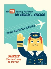 Vintage 1960 Airlines Flight Poster