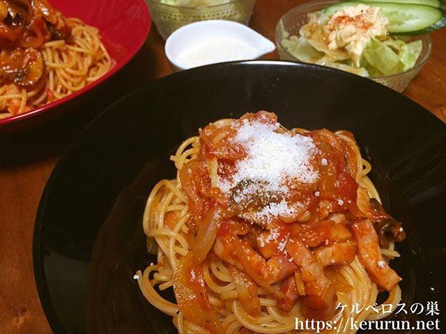 ベーコンとマッシュルームのトマトスパゲティ