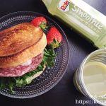 朝食LOG 20180312 ラウンドパンのサンドイッチ