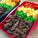 【コストコ食材活用】牛肉の甘辛炒めの四色のっけ弁当