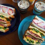 朝食LOG アスパラと卵とベーコンのサンドイッチ&苺のフルーツサンドイッチ