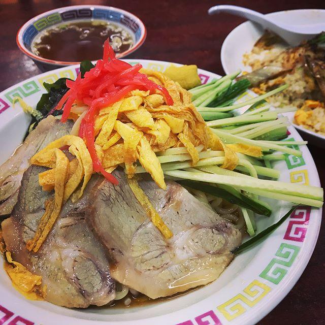 宝華の冷やし中華と豚バラ炒めのせチャーハン