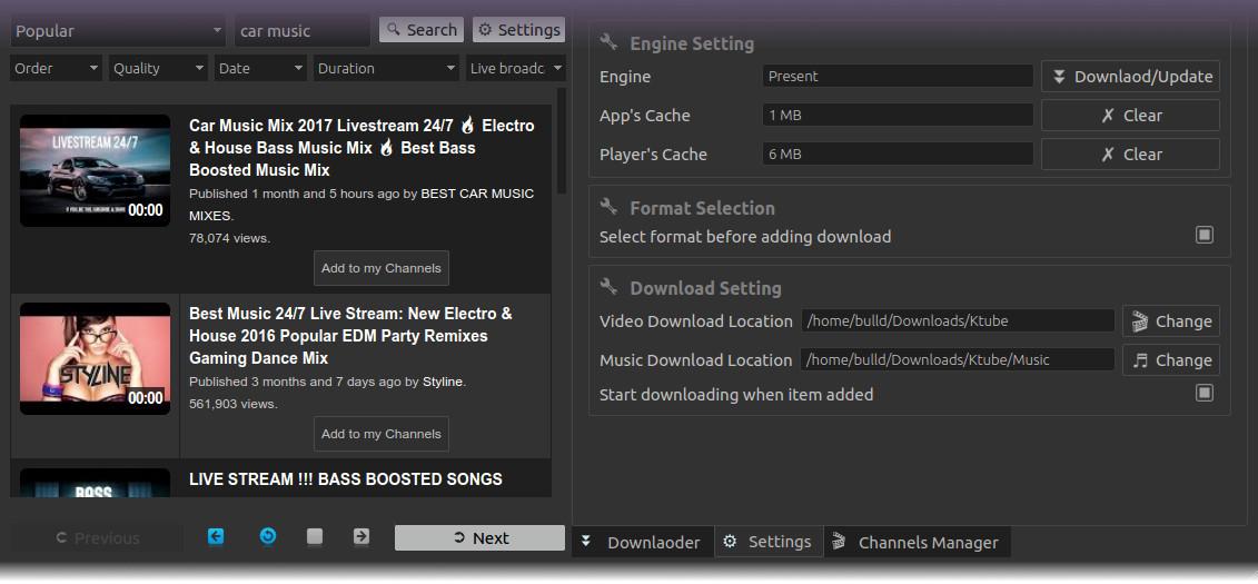 Ktube Media Donwloader for Linux - youtube-dl gui
