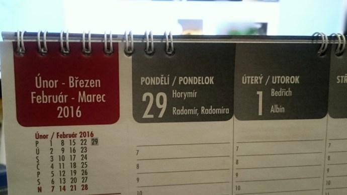 Přestupný den, 29. únor, letos připadá na pondělí