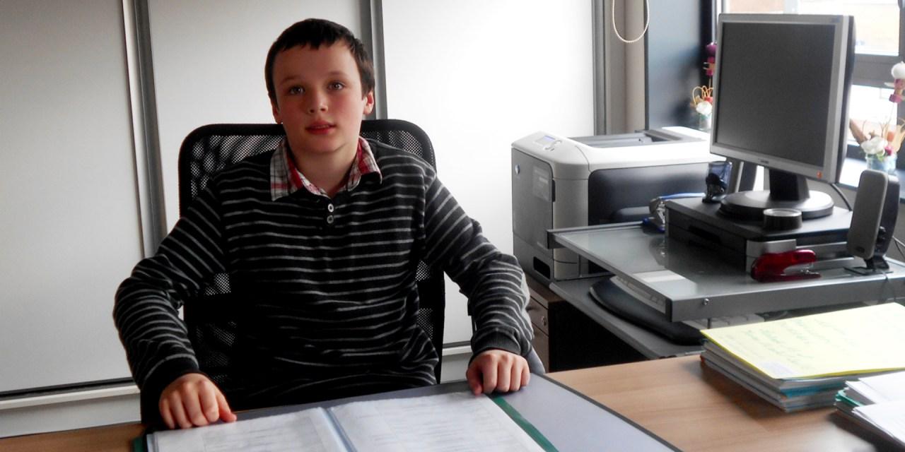 Samuel DUMEY, 11 ans, 1er adjoint à la ville de Coudekerque Branche