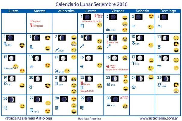 Calendario lunar de septiembre 2016 patricia kesselman Fase lunar octubre 2016