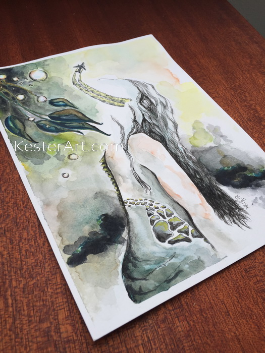 an artwork made with watercolor in greenish colors. you see a girl from her back, her spine is like a lizards. An airplane fly out of her head and there are soap bubbles