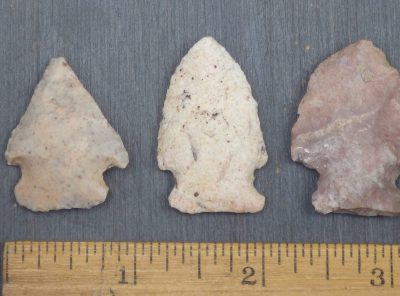 3 Side Notched Native American Indian Arrowheads
